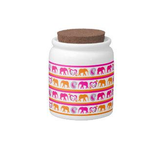 Colorful Orange Hot Pink Elephants Paisley Hearts Candy Jars