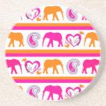 Colorful Orange Hot Pink Elephants Paisley Hearts Beverage Coaster
