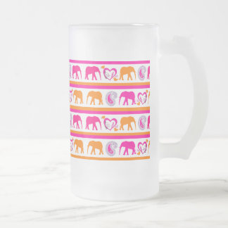 Colorful Orange Hot Pink Elephants Paisley Hearts Frosted Glass Beer Mug