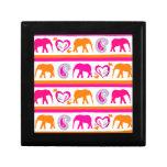Colorful Orange Hot Pink Elephants Paisley Hearts Gift Box