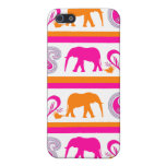Colorful Orange Hot Pink Elephants Paisley Hearts Cover For iPhone 5