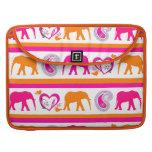Colorful Orange Hot Pink Elephants Paisley Hearts MacBook Pro Sleeve