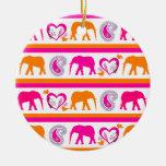 Colorful Orange Hot Pink Elephants Paisley Hearts Ornaments