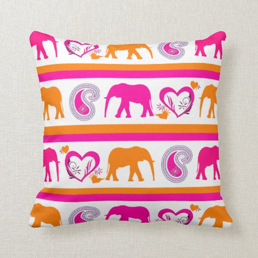 Colorful Orange Hot Pink Elephants Paisley Hearts Pillow