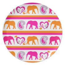 Colorful Orange Hot Pink Elephants Paisley Hearts Plate