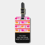 Colorful Orange Hot Pink Elephants Paisley Hearts Travel Bag Tags