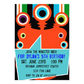 Colorful Orange Monster Birthday Party Invitations