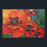 "Colorful Orange Oriental Poppy Kitchen Towel<br><div class=""desc"">Orange Oriental Poppy shown on kitchen towel. As a gardener, the flamboyant and glorious oriental poppy is my favorite of all flowers. My only complaint is it&#39;s short time. Their blooms are impossible to ignore. I love the paper thin petals finding their details breathtaking. This painting is also available on...</div>"