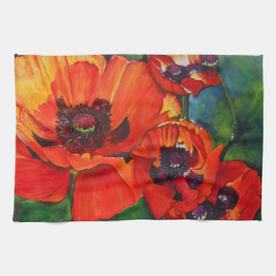 Colorful Orange Oriental Poppy Kitchen Towel