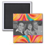 Colorful orange pink photo frame magnets