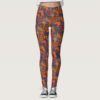 Colorful Orange Purple Teal Leggings