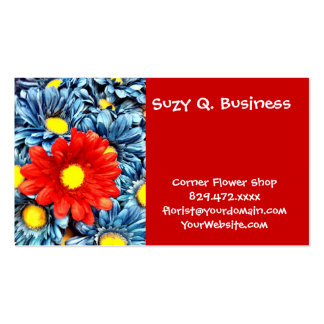 Colorful Orange Red Blue Gerber Daisies Flowers Double-Sided Standard Business Cards (Pack Of 100)