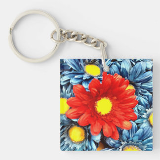 Colorful Orange Red Blue Gerber Daisies Flowers Keychain