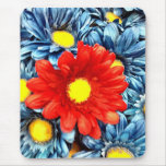 Colorful Orange Red Blue Gerber Daisies Flowers Mouse Pad