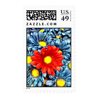 Colorful Orange Red Blue Gerber Daisies Flowers Stamps