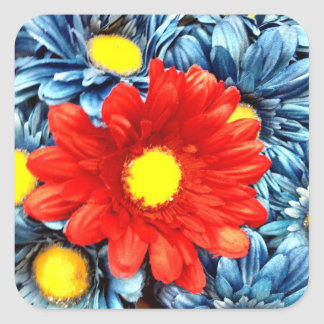 Colorful Orange Red Blue Gerber Daisies Flowers Square Stickers