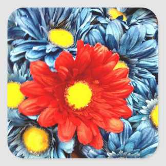 Colorful Orange Red Blue Gerber Daisies Flowers Sticker