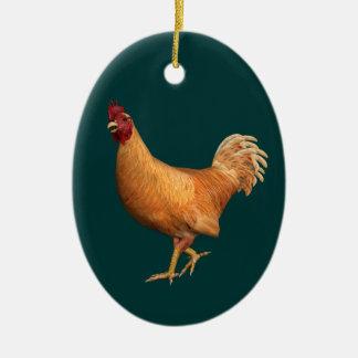 Colorful Orange Rooster Ceramic Ornament