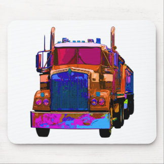 Colorful Orange Semi Truck Mouse Pad