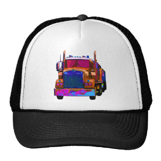 Colorful Orange Semi Truck Trucker Hat