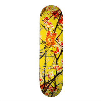Colorful orange yellow abstract floral design skateboard deck