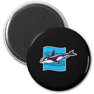 colorful orca design 2 inch round magnet