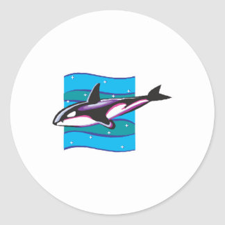 colorful orca design classic round sticker