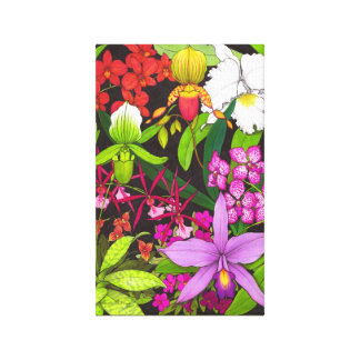 Colorful Orchid Garden Wrapped Canvas
