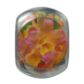 Colorful Orchids Glass Jar
