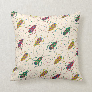 Colorful Original Insects Pattern Throw Pillow