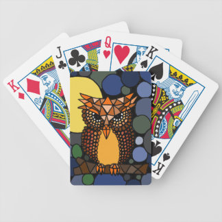 Colorful Original Owl Abstract Art Design Bicycle Playing Cards