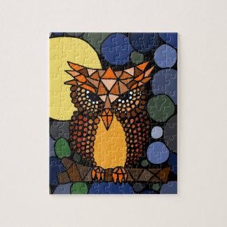 Colorful Original Owl Abstract Art Design Jigsaw Puzzle