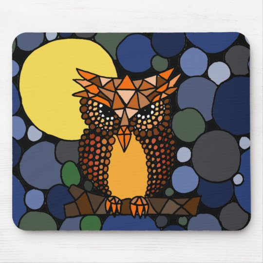Colorful Original Owl Abstract Art Design Mouse Pad