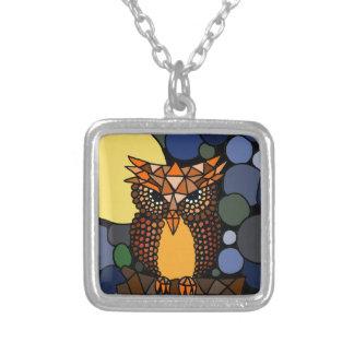 Colorful Original Owl Abstract Art Design Pendant