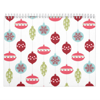 Colorful Ornament Pink Red Green Christmas Holiday Calendar