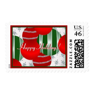 Colorful Ornaments Holiday Postage Stamp stamp