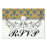colorful ornate damask custom announcement