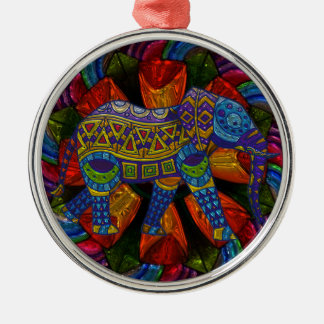 Colorful Ornate Elephant and Mandala Metal Ornament