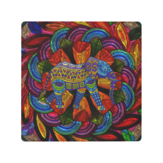 Colorful Ornate Elephant and Mandala Metal Print