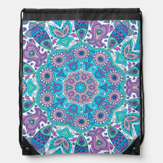 Colorful Ornate Floral Circle Lace Design Drawstring Backpacks