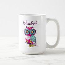 Colorful Ornate Floral Owl Custom Name Mug