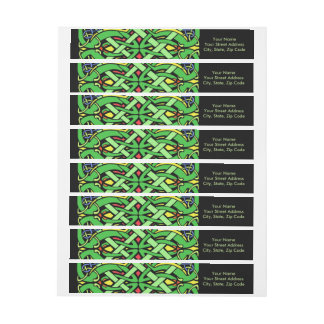 Colorful Ornate Irish Celtic Knot Wrap Around Label