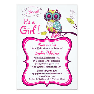 Colorful Ornate Owl Baby Shower Invitation
