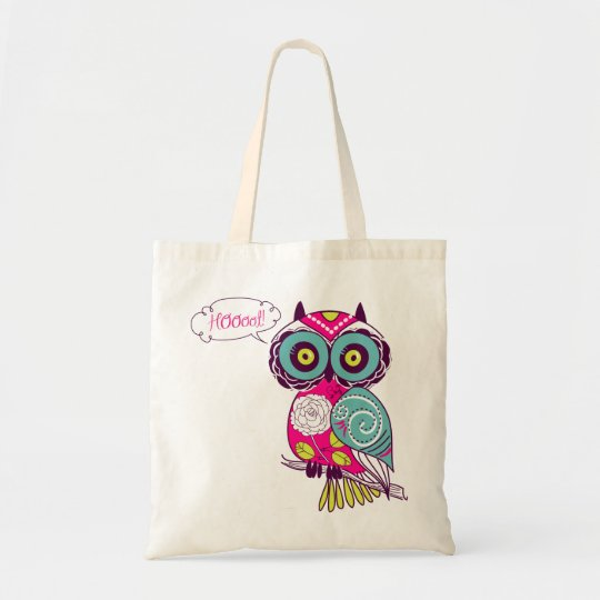 Colorful Ornate Retro Floral Hot Pink Owl Tote Bag