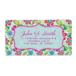 Colorful Ornate Retro Flowers Pattern 2 -Template Label