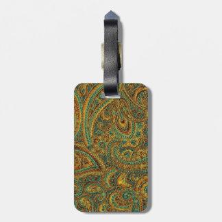 Colorful Ornate Retro Paisley Bag Tag