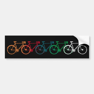 colorful overlapping bicycles bumper sticker