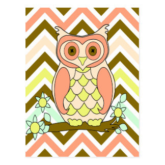 Colorful Owl against Chevron Background Postcard