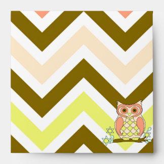 Colorful Owl Against Chevron Envelopes
