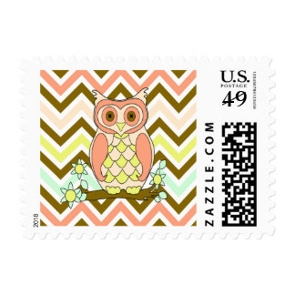 Colorful Owl against Chevron Postage Stamps
